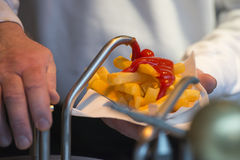 French fries street food with sauces ketchup and mayonnaise Stock Photos