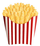 French fries in stripes packaging. Golden french fries in stripes packaging, on white background Stock Image