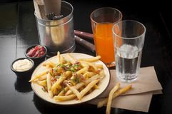 French fries. Tasty french fries with drink stock photos