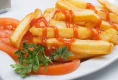French fries with tomato ketchup Stock Photos