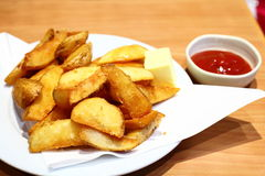 French Fries and Tomato Sauce Royalty Free Stock Photography