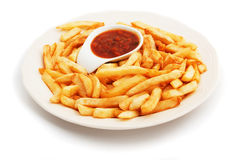 French fries with tomato sauce Stock Photography