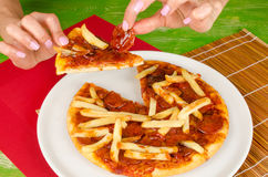 French fries toppin pizza Stock Photos