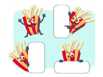 French fries vector cartoon illustration set Stock Photos