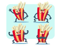 French fries vector cartoon illustration set Stock Images