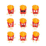 French Fries - vector set of mascot illustrations. Royalty Free Stock Photography