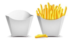 French Fries Vector.. French Fries Vector. White Empty Blank Paper Bag. Fast Food Icons Potato. Empty And Full. Isolated Royalty Free Stock Photos