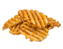 French Fries Waffle Cut white background Royalty Free Stock Photography
