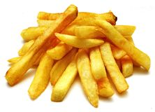 French fries on the white background. Without plate Royalty Free Stock Photo