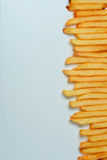 French fries on white background. Top view of french fries on white background Stock Photo