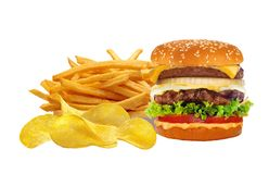 French fries in white box and cheeseburger isolated on white Stock Photography
