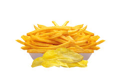 French fries in white box and chips isolated on white Stock Photography