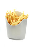 French fries in a white paper wrapper isolated on white backgrou Royalty Free Stock Photos