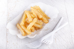 French fries and white paperboard container Stock Image
