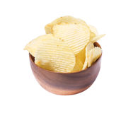 French fries in wood bowl  on isolate white background. With cipping paths Stock Photos