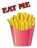 French fries with words. Franch fries stand under the red inscription eat me Stock Photography