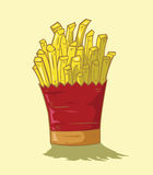 French fries  yellow background Stock Images
