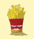French fries  yellow background Royalty Free Stock Photo