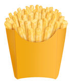 French fries in yellow packaging Royalty Free Stock Images