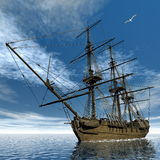 French frigate Medusa, 1810 - 3D render Stock Photography