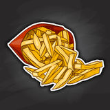 French fry color picture sticker. Colorful French Fries in Packet. Snacks. Fast food. Vector illustration. Color picture sticker royalty free illustration