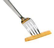 French fry on a fork - cutout Royalty Free Stock Photography