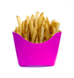 French fry in pink box. Isolated on white nackground Royalty Free Stock Photos