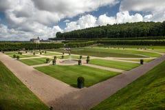 French garden in Chateau de Villandry stock image