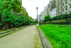 French garden in Paris. With amazing plats during daytime Stock Photo