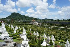 French garden with white Pagoda Royalty Free Stock Photos