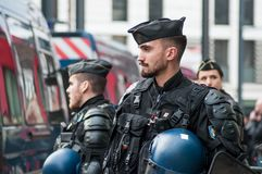 French gendarmes during the protesting against taxes and rising fuel prices and for and the resignation of E. Macron. Mulhouse - France - 9 February 2019 royalty free stock photography