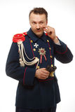 French general with beautiful mustache holding binoculars Royalty Free Stock Photos