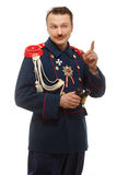 French general with beautiful mustache holding binoculars Stock Images