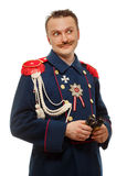 French general with beautiful mustache holding binoculars Stock Photos