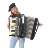 French girl with accordion Stock Photo