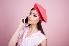 French girl with phone. parisian lady. pinup girl with fashion hair. pin up woman with trendy makeup. girl in vintage. Style. retro woman with moneybox stock images