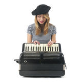 French girl playing the accordion Royalty Free Stock Image
