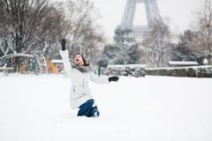 French girl playing with snow Royalty Free Stock Image