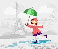 French girl with umbrella Royalty Free Stock Photos