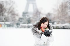 French girl on a winter day Stock Photos