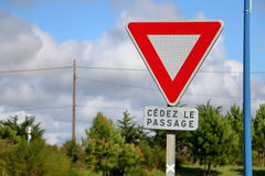 French give way sign Stock Image