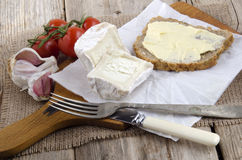 French goat cheese and bread Royalty Free Stock Photography