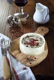 French goat cheese and wineglass Royalty Free Stock Photography