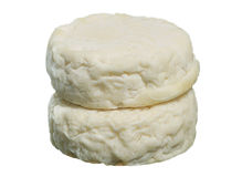 French goat cheeses - AOC Picodon. Isolated on the white background Royalty Free Stock Photos