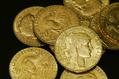 French gold coins. Some French gold coins '20 Francs Napoleon stock photography
