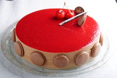French gourmet cherry-chocolate cake Stock Photos