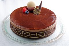 French gourmet La ganache chocolate cake Stock Photography