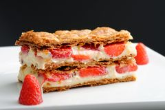 French gourmet strawberry mille feuille Royalty Free Stock Images