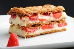 French gourmet strawberry mille feuille. With whipped sour cream. Shallow dof Stock Images