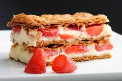 French gourmet strawberry mille feuille. With whipped sour cream. Shallow dof Stock Photo